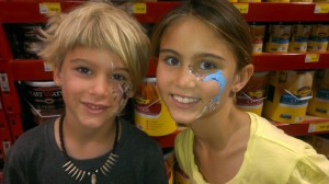 Hendrix and Elokin got their faces painted at Bunnings on Father's Day