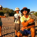 Elokin, Hendrix and Nath with the 2 mud crabs