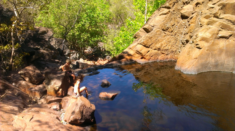 Swimming in the middle pool at Robin Falls